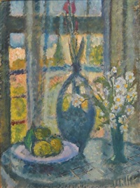 still life and flowers by arieh allweil
