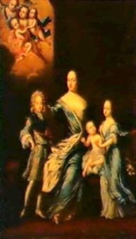 kopia efter david klocker ehrenstrahl. ulrika eleonora   d.a. med familj by david kock