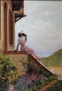 madame bisson devant la villa
