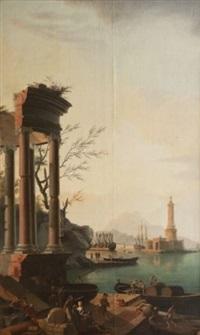 ruines antiques à l'entrée d'un port méditerranéen by jean henry d' arles