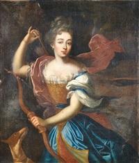 portrait d'une élégant en diane chasseresse by pierre gobert