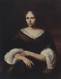 portrait of a lady wearing a brown silk dress with a lace collar and a white chemise, a garden beyond by jan de baen