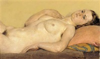 reclining female nude by wilhelmus (wilm hendrikus) wouters