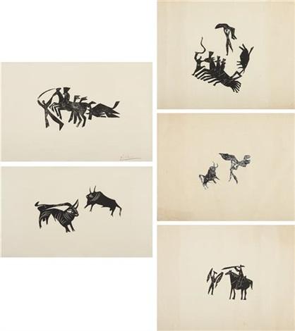 la rentrée du taureau deux petits taureaux and scènes de corrida three working proofs 5 works by pablo picasso