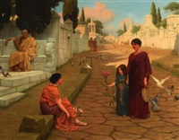 outside the gate of pompeii by john william godward