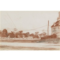 buildings with utility poles by edward hopper