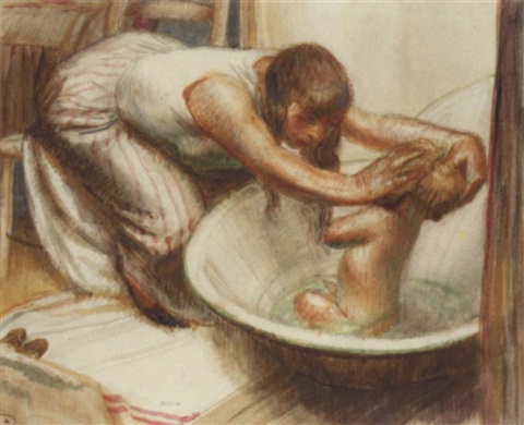 bathing baby by robert sargent austin