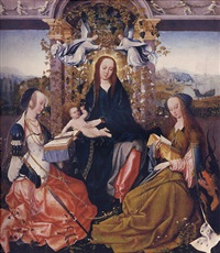 the virgin and child with saint catherine of alexandria and saint margaret of antioch by gosvin (goossen) van der weyden