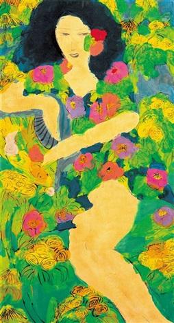 beauty amongst flower by walasse ting
