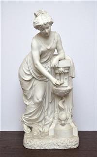 dame debout près d'une fontaine by nicholas lecornet