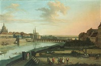 dresden from the right bank of the elbe below the augustus bridge (+ dresden from the right bank of the elbe above the augustus bridge; pair) by bernardo bellotto