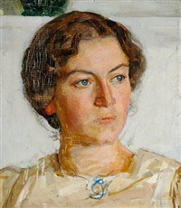 portrait of painter viggo johansen's daughter bodil faber by richard (sven r.) bergh