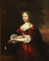 portrait of a lady in red dress with a dog by constantyn netscher