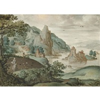 a mountainous river landscape with the parable of the sewing of the tares by cornelis massys
