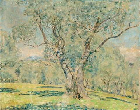 olive trees view of cagnes verso by frederick carl frieseke