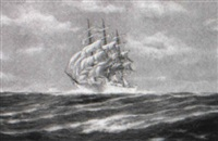 clipper ship 'seven seas' on high sea by j. arnold