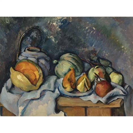 nature morte aux fruits et pot de gingembre by paul cézanne