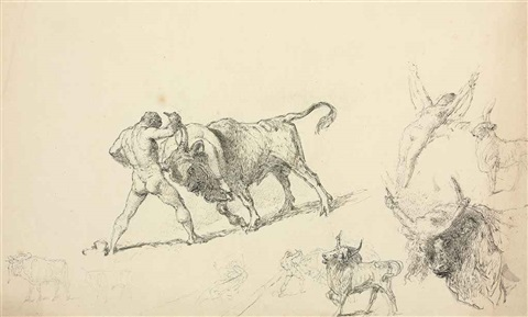study for capture of the cretan bull and the abduction of europa, circus, king lear and the fool and inside the izba (4 works) by mihály von zichy
