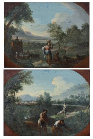 pêcheurs dans un paysage de la campagne romaine deux bergers et leur troupeau dans un paysage de la campagne romaine pair by jan frans van bloemen