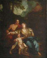 vénus et adonis dans un paysage by pierre-jacques cazes
