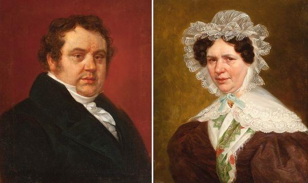 portrait de monsieur joseph albert libert portrait de angelica vander straeten 2 works by charles picque