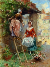 picking flowers for the market by henri victor lesur