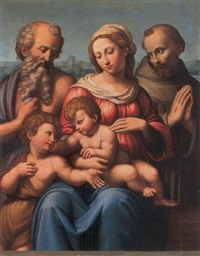 the madonna and child with the infant saint john the baptist and saints jerome and francis by innocenzo di pietro (da imola) francucci