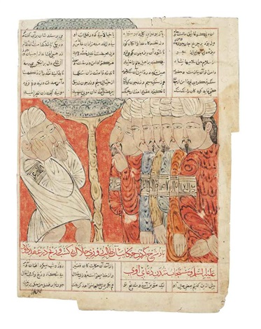 an aged man adressing a crowd four men in prayer and a man picking up fruits from trees from a copy of mathnavi by anonymous