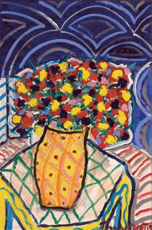 still life with vase of flowers by tony curtis