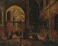 a gothic church interior with mass being celebrated in a side chapel by hendrick van steenwyck the younger