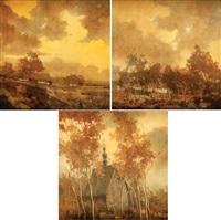 zestaw trzech prac z cyklu pejzaż polski (3 works) by jerzy duda-gracz