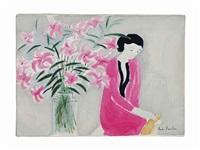 femme avec vase de fleurs by andré brasilier