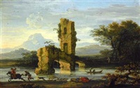 italianate river landscape with a rider and a ruined bridge by jan de momper