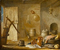 a kitchen interior with dead fish, an earthenware jug and dishes before a fireplace by harmen van steenwyck