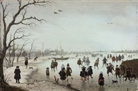 a winter landscape with figures skating and making merry on a frozen river by anthonie van stralen