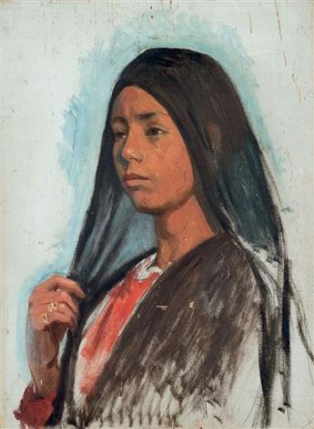 portrait de jeune femme au voile noir by ludwig deutsch