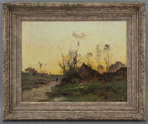 sunset landscape by eugène galien laloue