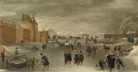 skaters, kolf players and sledges on a frozen river near the st. janspoort city gate, with the kruispoort in the background and the pink mill beyond, haarlem by hendrick avercamp
