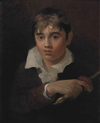 portrait of a boy, believed to be the artist's youngest brother henry, as young norval, bust-length, in a dark jacket and white shirt, holding a sword by john sell cotman