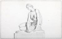 sculpture of a nymph with a shell (study) by giovanni domenico campiglia