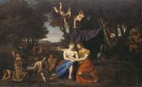 mars et vénus dans un paysage classique entourés d'amours by nicolas colombel
