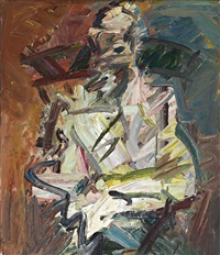 david landau seated by frank auerbach