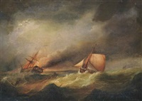 a ship ablaze with rescue at hand by francis hustwick