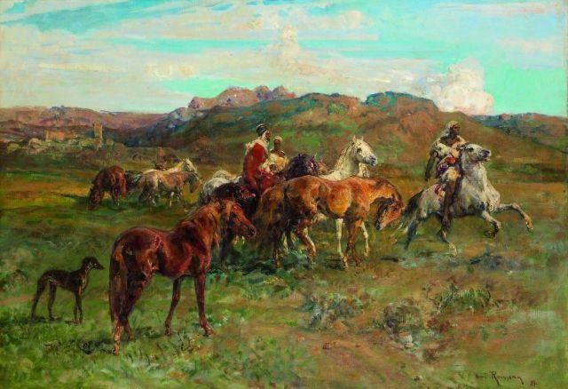 cavaliers marocains et chevaux sauvages by henri emilien rousseau