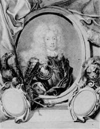 portrait of emperor joseph i set in a cartouche with emblems of the empire by isaac fisches