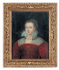 portrait de jeune femme à la robe rouge by françois quesnel