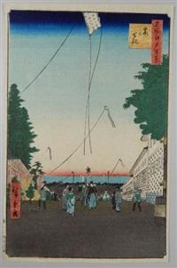série des 100 vues célèbres d'edo 2 - kasumigaseki. descente vers la baie de tokyo by ando hiroshige