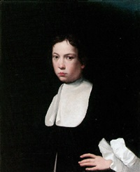 portrait of a boy wearing a black coat and a lawn collar by isaac fuller
