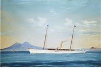 the american steam yacht conqueror in the bay of naples with mt. vesuvius in the background by antonio de simone