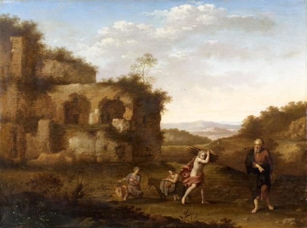 abraham et isaac préparant le sacrifice by cornelis van poelenburgh